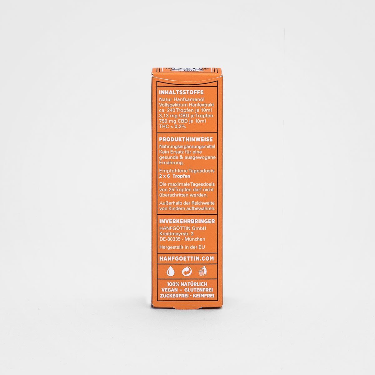 7,5% CBD 750mg Sanddorn CBD Öl von HANFGÖTTIN